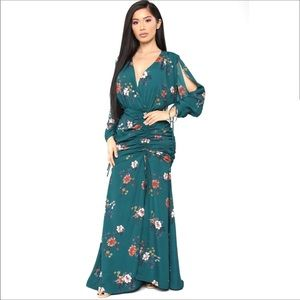 Dresses & Skirts - Floral Maxi Green Dress Open Back Long Ruched Gown